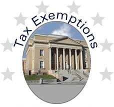 Image of a government building with text Tax Exemptions
